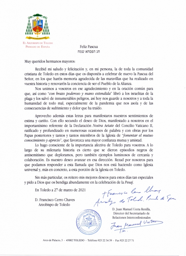 Mons. Cerro Chaves felicita la Pascua a las comunidades judías